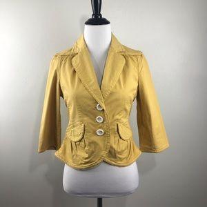 Anthropologie Idra Size 2 Yellow Peplum Blazer